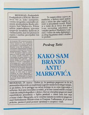 Kako sam branio Antu Markovića